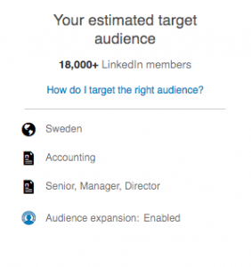 Exempel målgrupp Linkedin
