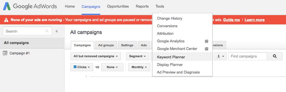 Bild på vart man väljer keyword planner