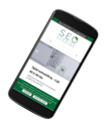 Smartphone med SEO Sveriges webbplats